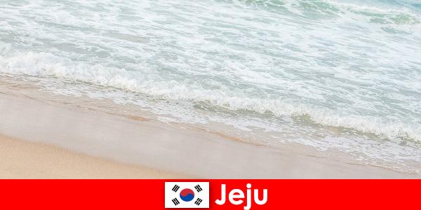 Чеджу с мелким песком и чистой водой — идеальное место для семейного отдыха на пляже.