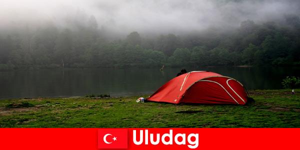 Отдых в кемпинге с семьей в лесах Улудага Турции